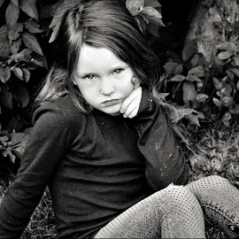 Having A Thoughful Moment B&W by Cheryl Korotky - Black & White Portraits & People