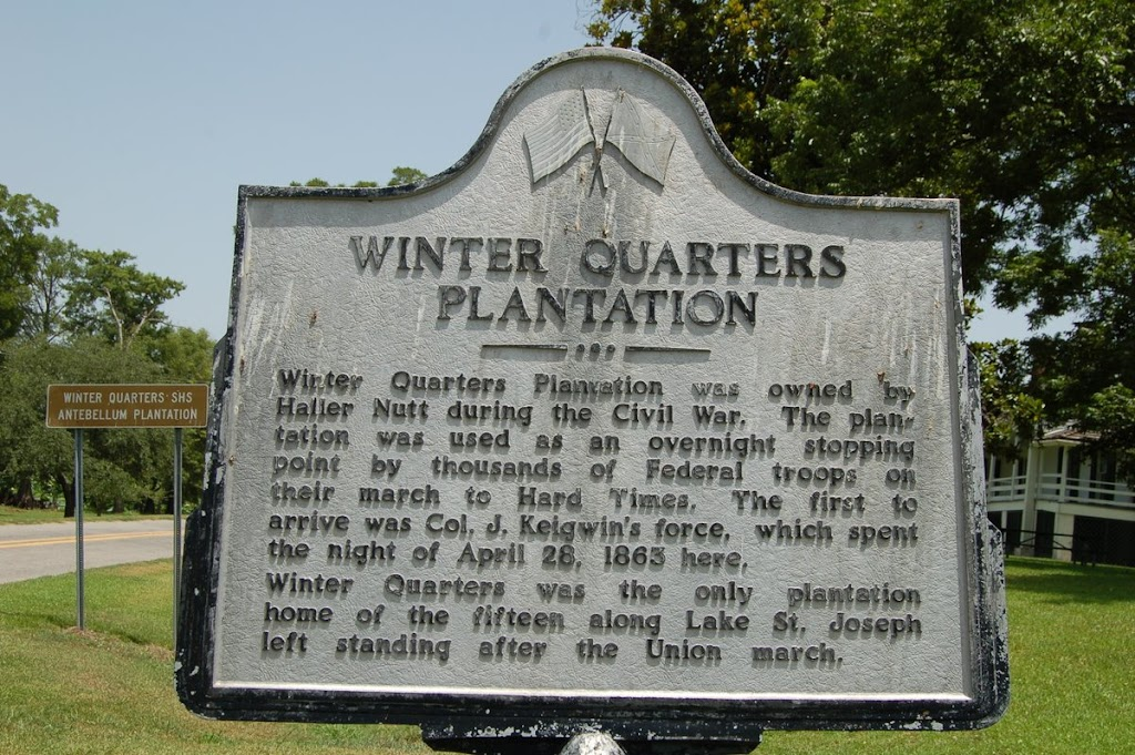 Winter Quarters Plantation was owned by Haller Nutt during the Civil War. The plan- tation was used as an overnight stopping point by thousands of Federal troops on their march to Hard Times. The ...