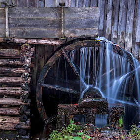 Mill Wheel by Cathie Crow - Buildings & Architecture Public & Historical ( water, great smoky mountains, wheel, great smoky mountains national park, grist mill, long exposure photography, long exposure, architecture, cades cove )
