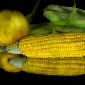 In the beauty of fresh corn and cucumber fruit by Arvind Akki - Food & Drink Fruits & Vegetables ( cucumber, nature, yellow )