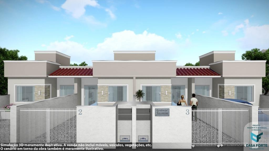 Casa à venda dispondo de 2 dormitórios, vaga aberta para garagem, área de serviço.