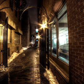 Dark Alley by Marc Parent - City,  Street & Park  Street Scenes ( doors, lights, brick wall, metal, dark, long exposure, architecture, night shot, alley, nightscape )