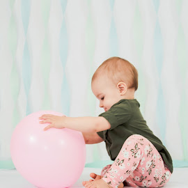 Taylor and her Balloon by Jenny Hammer - Babies & Children Babies ( birthday, pink balloon, girl, baby, cute )