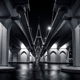 Split Roads  by Amr Younis - Buildings & Architecture Bridges & Suspended Structures ( night photography, dubai, black and white, bridge, architecture )