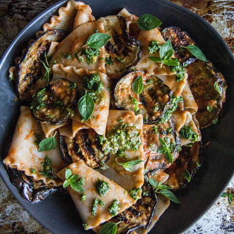 Pasta with Grilled Eggplant, Smoky Tomato Sauce and Basil Walnut Pistou