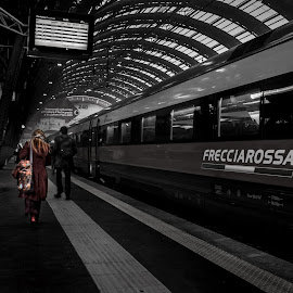 Milan central station by Matteo Caldaroni - City,  Street & Park  Street Scenes ( street, scene, train, travel )