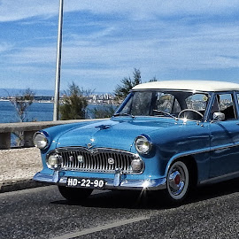 street blues by Ana Paula Filipe - Transportation Automobiles ( ride, car, blue, sea, marginal )