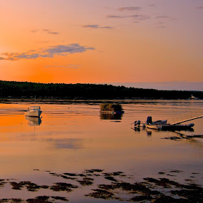 Early Morning on The New Meadows River by Joe Fazio - Landscapes Sunsets & Sunrises ( maine, sunrise, sunset, river, lobster boats,  )