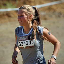 Running To The Next Mission by Marco Bertamé - Sports & Fitness Other Sports ( d, amnéville, letter, numer, blond, lady, 3312, the mud day, running,  )