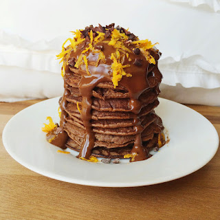 Chocolate Orange Pancakes with a Healthy Raw Chocolate Sauce
