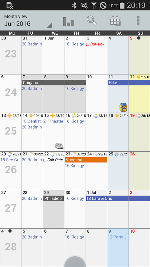 Personal Calendar Screenshot