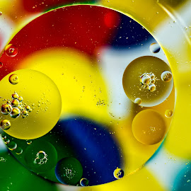 Colorful Bubbles by Carol Ward - Abstract Macro ( abstract, bubble art, macro, abstract art, bubbles, oil bubbles )