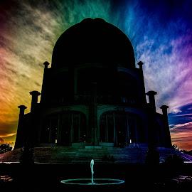 by Ioannis Sotirakos - Digital Art Places ( temple, love, structure, building, colors, peace, harmony, bahai, evening, rainbow )
