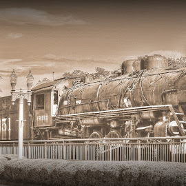 Old Frisco Train Engine in Collierville, TN by Billy Morris - Transportation Trains ( memphis, collierville, black and white, tennessee, frisco, train )