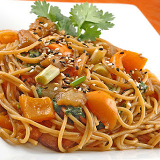 Whole Grain Noodles with Sweet and Sour Eggplant Sauce