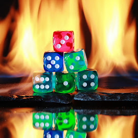 Dice and fire by Peter Salmon - Artistic Objects Other Objects ( colour, flames, dice, dots, fire )