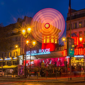 Glamour Night by Luis Silva - City,  Street & Park  Street Scenes ( paris, 2015, long exposure, moulin rouge,  )