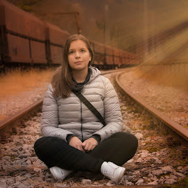 Tjaša by Joško Šimic - People Portraits of Women ( one person, station, loneliness, caucasian ethnicity, waiting, beautiful, journey, beauty, adult, travel, transportation, females, women, people, railroad station platform, young adult, outdoors, train, lifestyles, everypixel, railroad track )