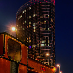 old and new by Balan Gratian - City,  Street & Park  Night ( london night, night on stratford, london cityscape, stratford, back in time )
