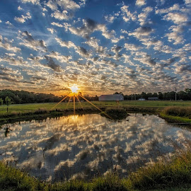 Sunrise Clouds by Michael Buffington - Landscapes Sunsets & Sunrises ( clouds, meadow, sunrise, landscape, pond, sun )