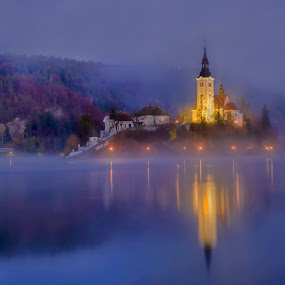 Lake Bled by Stane Gortnar - Buildings & Architecture Public & Historical ( church, slovenija, bells, bled, lake, island, nightscape )