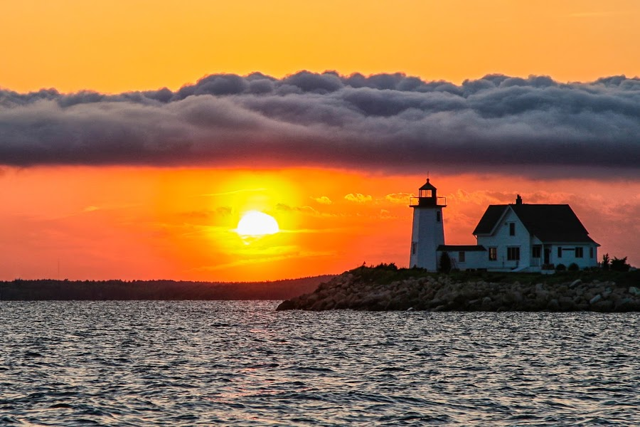 Cloud Bank at Wings Neck Lighthouse by Carl Albro - Buildings & Architecture Public & Historical ( clouds, waterscape, sunset, lighthouse )