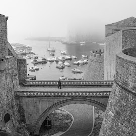View from the bridge by Miho Kulušić - Black & White Landscapes ( foggy, walls, bridge, arch, boats, wall, fog )