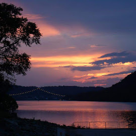 Ohio River at dusk by Marybeth Fields - Uncategorized All Uncategorized ( riverside, sunsets, sunset, dusk, river )
