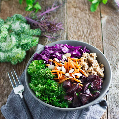 Beet Buckwheat Salad w/ Kale, Cabbage, & Carrots