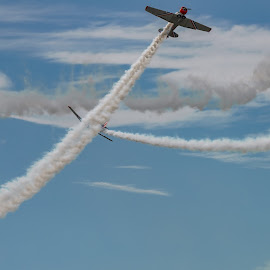 NEW WINDSOR, NY - SEPTEMBER 3, 2016: The GEICO Skytypers Air Sho by Jan Gorzynik - Transportation Airplanes ( airplane, geico, era, show, swf, across, war, messages, airport, flight, stewart, snj-2, sky, words, plane, air, skytypers, world, maneuvers, formation )