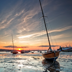 Calm Sunset by Brens Photo's - Landscapes Sunsets & Sunrises ( water, ireland, dublin, sunset, boats, eire, seascape, ligt )