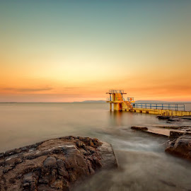 Salthill by Ryszard Lomnicki - Buildings & Architecture Other Exteriors ( ireland, bay, sunset, galway, ocean, longexposure,  )