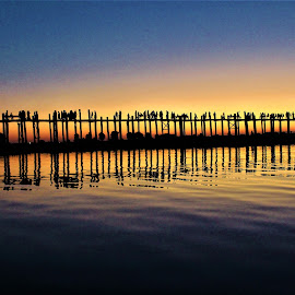 Reflection of Wooden Bridge by Mrsoe Thuaung - Buildings & Architecture Bridges & Suspended Structures ( sunset )