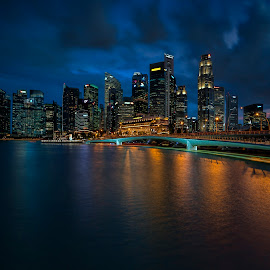 by Gordon Koh - City,  Street & Park  Night ( reflection, city, dusk, night, asia, city park, skyline, singapore, shenton, modern, urban, symmetry, nightscape, cityscape, modern city, esplanade, blue hour, lake, park, mbs )