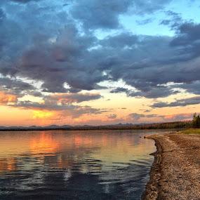 Sunrise In Yellowstone by Amada Gonzalez - Landscapes Sunsets & Sunrises ( mountains, nature, sunset, lakes, sunrise, travel, landscape,  )
