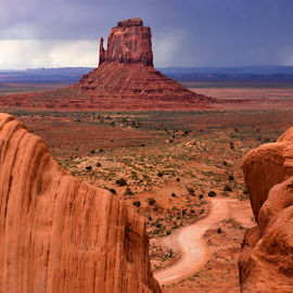 Rocky View #2 by Phyllis Plotkin - Landscapes Caves & Formations ( monument valley, rock formations, utah, path, rock, landscape )