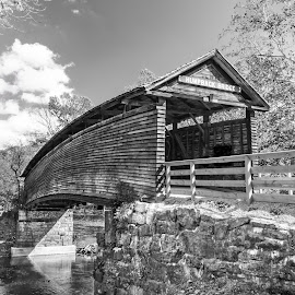 Humpback Bridge in Black & White by Norma Brandsberg - Black & White Buildings & Architecture ( old, mountain, photograph, www.elegantfinephotography.com, midland, valley, road, landscape, norma brandsberg, alleghany highland, shenandoah, photography, hiking, turnpike, jackson, area attraction, creek, trail, weekend, photographer, 64, kanawha, trip, opportunities, black, quaint, covered, 1857, humpback bridge, white, scenic, photo opportunity, photo, james, nbrandsberg@gmail.com, charm, covington virginia, vacation, county, route, top thing to do, scene, river,  )