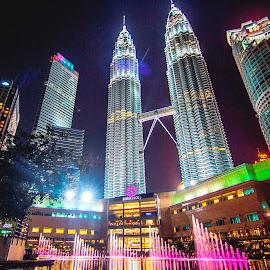 by Biman Sarkar - City,  Street & Park  Skylines ( petronas twin towers, klcc, fountain )
