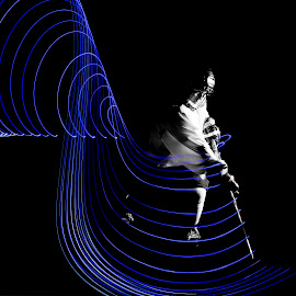 by Shelly Metz - Abstract Light Painting ( blue light, hockey, sports, girls sports )