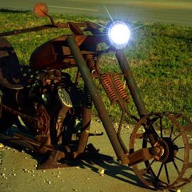 Rusty Light by David Westfall - Transportation Motorcycles ( cycle, two wheels, motorbike, rusty motorbike, motorcycle, rusty motorcycle )