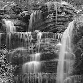 OVER THE TOP by Dana Johnson - Black & White Landscapes ( waterfalls, black and white, cascade, falls, landscape )