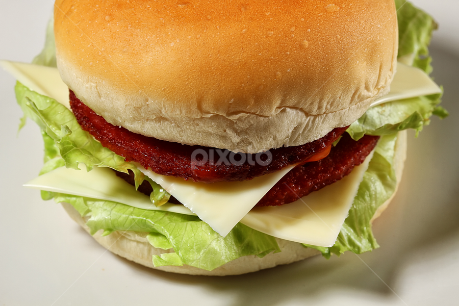 hamburger by Ismed  Hasibuan  - Food & Drink Meats & Cheeses ( plated, bread, food, meat, vegetables, eating, cheese )