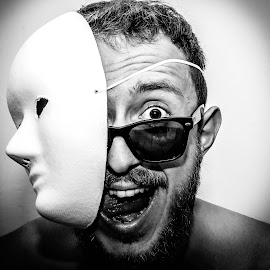 Crazy  by David Khundiashvili - People Portraits of Men ( crazy, black and white, mask, self portrait, portrait )