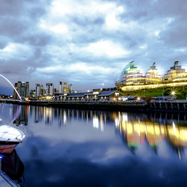 Gateshead From Newcastle by Adam Lang - City,  Street & Park  Night ( water, sage, sky, reflections, millennium bridge, gateshead, night, newcastle )