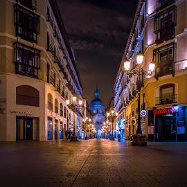 Calle de Alfonso I by Ole Steffensen - City,  Street & Park  Street Scenes ( zaragoza, street, night, basilica, spain, calle de alfonso i )