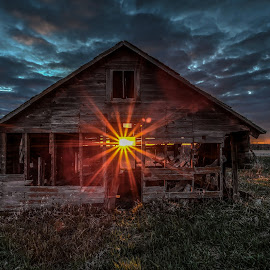 Shine by Casey Mitchell - Buildings & Architecture Decaying & Abandoned ( farm, building, old, sunset, sun, decay, country, abandoned )