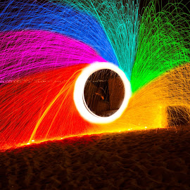 Rainbow in the Street Of Messina  by Orazio Mandraffino - Abstract Light Painting ( messina, light painting, steel wool, sea, long exposure, night, beach )