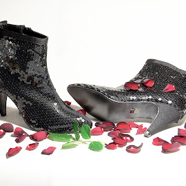 Post Festum by Tuula Fagerholm - Artistic Objects Clothing & Accessories ( shoes, rose, petals, party, glitter, black )