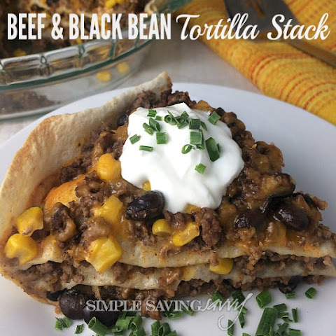 Beef & Black Bean Tortilla Stack