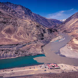 The Sangam by Pradyumna Verma - Landscapes Travel ( pradyumna, india, sham, ladakh, valley, rivers, landscapes, photography, indus )